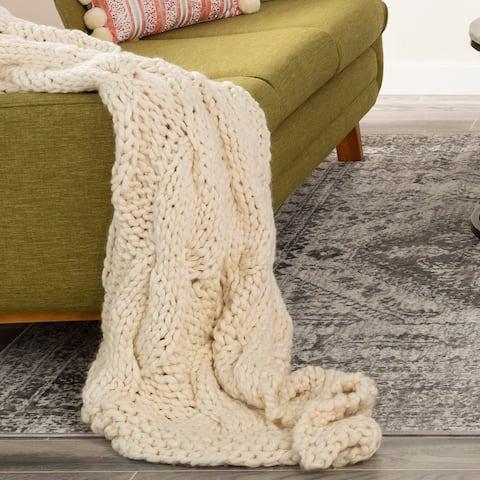 Robyn Chunky Knit Wool Blend Throw