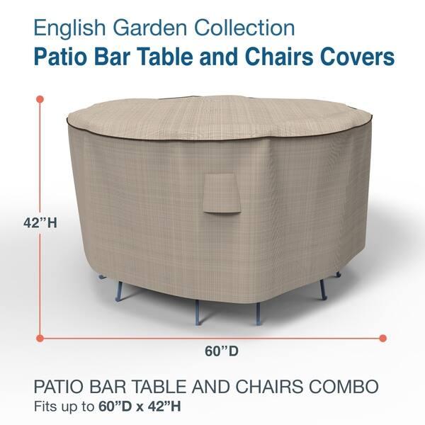 Budge Waterproof Outdoor Patio Bar Table And Chairs Cover English Garden Tan Tweed Multiple Sizes Overstock 30346709 Medium 60 Diameter X 42 Drop
