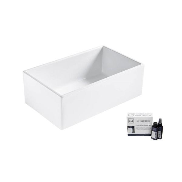 """Austen Fireclay 30"""" Single Bowl Kitchen Sink in Matte White, Care Kit. Opens flyout."""