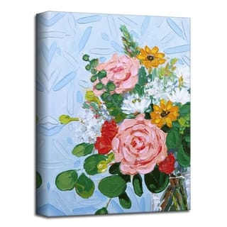 'Rose and Eucalyptus' Floral Canvas Wall Art