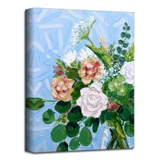 'Green and Blush' Floral Canvas Wall Art