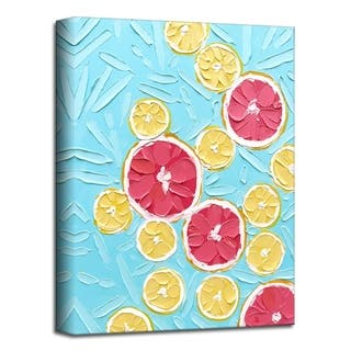 'Grapefruit and Lemon' Botanical Canvas Wall Art