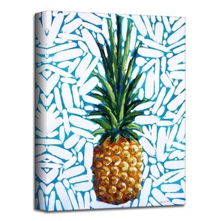 'White Confetti Pineapple' Botanical Canvas Wall Art