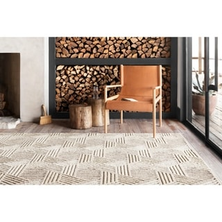 Alexander Home Kanarra Hand-Tufted Triangle Maze Farmhouse Natural Wool Rug