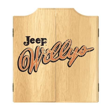 Jeep Willys Vintage Dart Board Cabinet Set