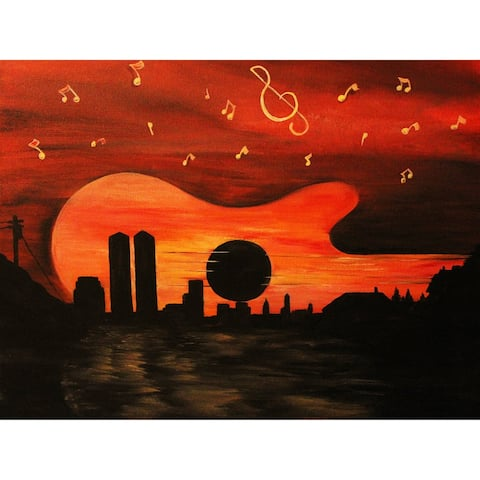 Guitar City by Ed Capeau Giclee Art Painting Reproduction POD