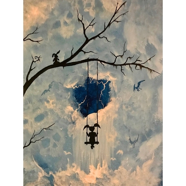 Mystery Girl Swinging with Bunny by Ed Capeau Giclee Art Painting Reproduction POD. Opens flyout.