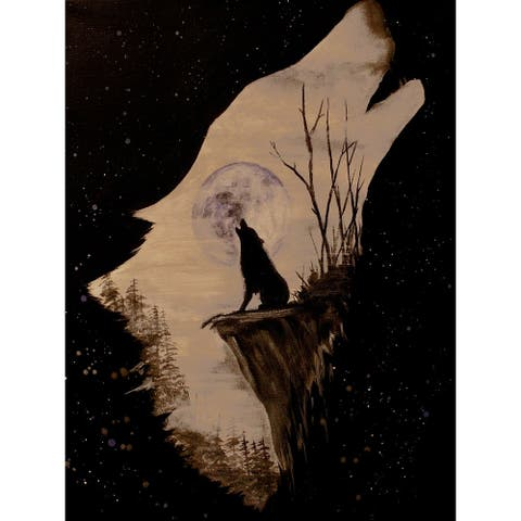 Wolf Howling at the Moon by Ed Capeau Giclee Art Painting Reproduction POD