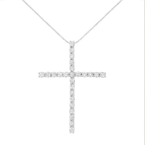 Sterling Silver 2 1/2ct. TDW. Diamond Cross Pendant Necklace (H-I, I2-I3) - White H-I