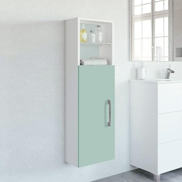 Happy Modern Bathroom Linen Storage Cabinet. Green (W 12 x D 11 x H 46 in) - N/A