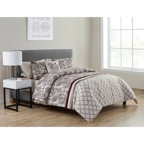 VCNY Home Georgie Burgundy Paisley Bed-in-a-Bag Comforter Set