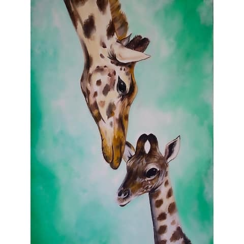 Mother and Baby Giraffe by Ed Capeau Giclee Art Painting Reproduction POD