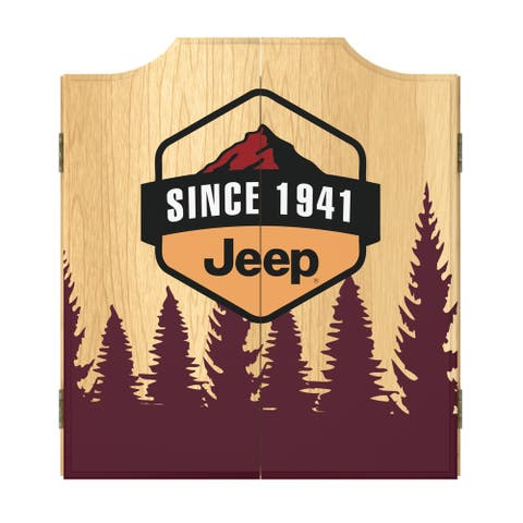 Jeep Sunset Mountain Dart Board Cabinet Set