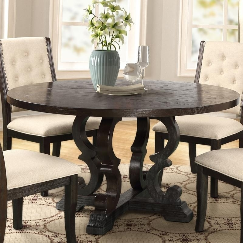 Round Rustic Dark Brown Dining Table
