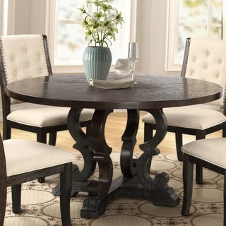 Best Master Furniture Round Rustic Dark Brown Dining Table 54 x 54