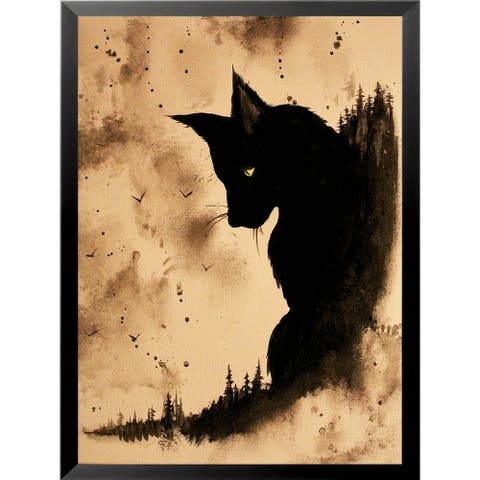 FRAMED Black Cat by Ed Capeau Art Painting Reproduction