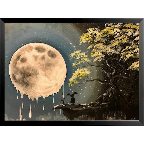 FRAMED Mystery Girl with Melty Moon by Ed Capeau Art Painting Reproduction