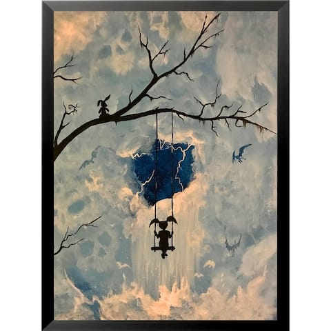 FRAMED Mystery Girl Swinging with Bunny by Ed Capeau Art Painting Reproduction