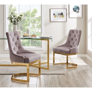 Link to Chic Home Greta Dining Chair Button Tufted Velvet Upholstery (Set of 2), Blush - N/A Similar Items in Dining Room & Bar Furniture