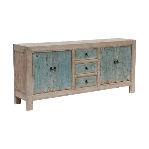 Lily's Living Reclaimed Wood Shandong Buffet 3 Draw 4 Dr, off white with soft aqua