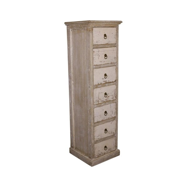 Lily's Living Reclaimed Wood Shandong Storage Dresser With 7 Drawers, 56 Inch Tall, Antique Off White Finish
