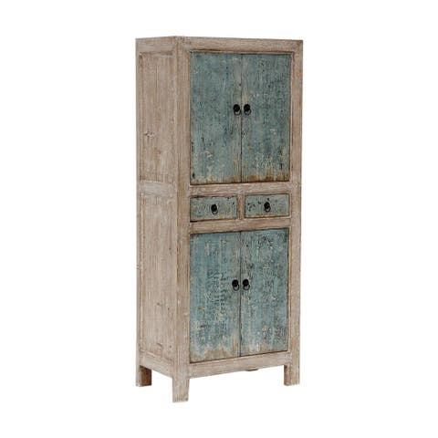 Lily's Living Reclaimed Wood Narrow Shandong Cabinet, 67 Inch Tall, Antique Green