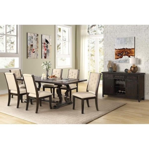 Best Master Furniture 7 Pcs Rustic Dark Brown Dining Set