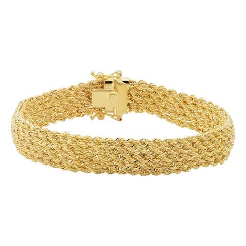 18K Yellow Gold 11 millimeter Braided Twisted Rope Bracelet (7.75 inches)