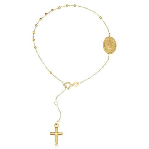 18K Yellow Gold Rosary Bracelet for Women (adjusts from 7 to 8.25 inches)