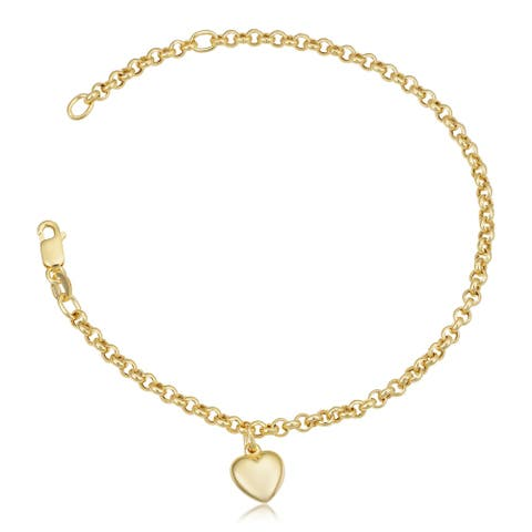 18K Yellow Gold Puffed Heart Charm Rolo Bracelet (adjusts to 6.5 or 7.25 inches)