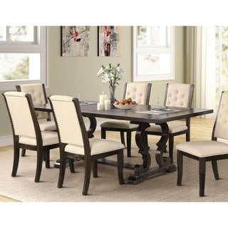 Best Master Furniture Rustic  Dark Brown Rectangular Dining Table with Extension
