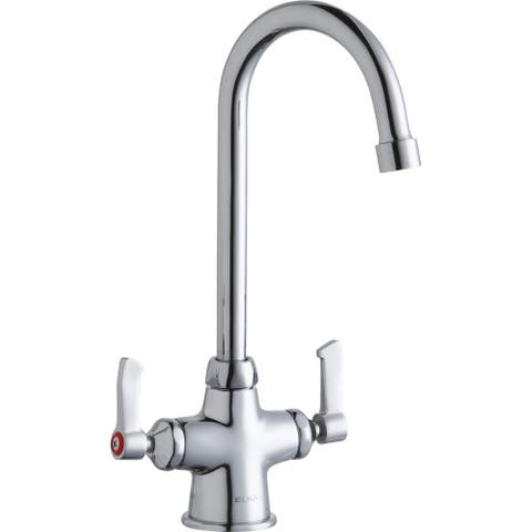 """Elkay Single Hole with Concealed Deck Faucet with 5"""" Gooseneck Spout 2"""" Lever Handles Chrome"""