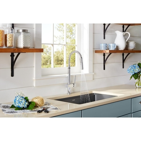 Elkay Avado Single Hole Kitchen Faucet with Semi-professional Spout and Lever Handle Chrome. Opens flyout.