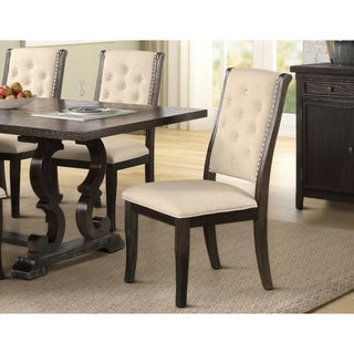 Best Master Furniture Rustic Dark Brown Dining Side Chair (Set of 2)