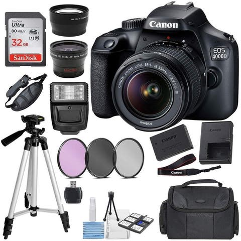 Canon EOS 4000D (Rebel T100) Digital SLR Camera w/ 18-55MM DC III Lens Kit (Black) with Accessory Bundle