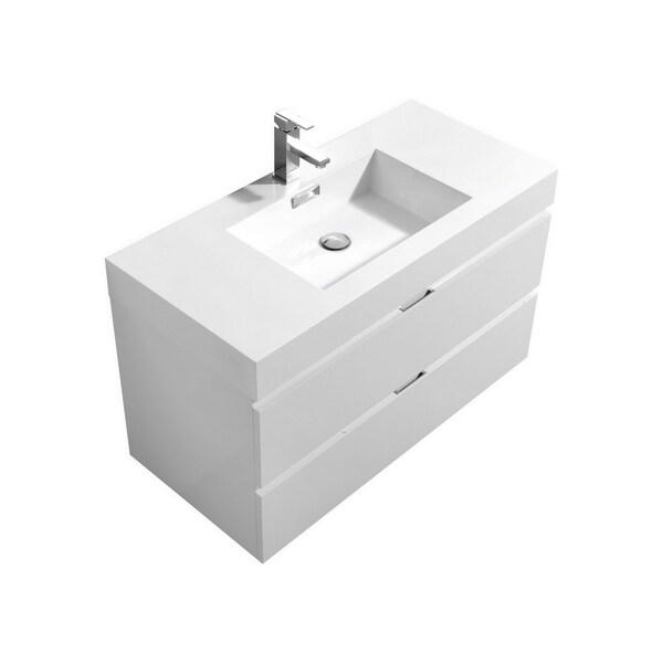 "Bliss 40"" High Gloss White Wall Mount Modern Bathroom Vanity"
