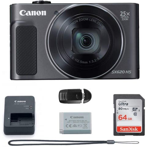Canon PowerShot SX620 Digital Camera w/25x Optical Zoom - Wi-Fi & NFC Enabled (Black) - Memory Card Bundle