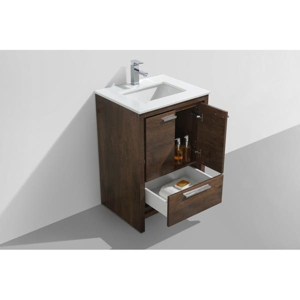 Shop Dolce 24 Rose Wood Modern Bathroom Vanity With White