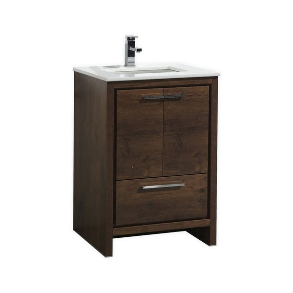 Dolce 24″ Rose Wood Modern Bathroom Vanity with White Quartz Countertop
