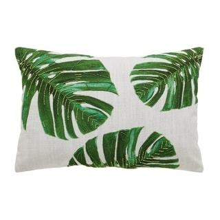 VCNY Home Palm Leaves Embroidered Decorative Pillow
