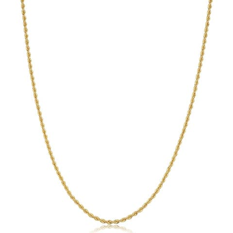 18k Yellow Gold 1.7 millimeter Classic Rope Chain Necklace for Women