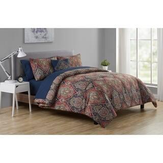 VCNY Home Dion Burgundy/Navy Damask Bed-in-a-Bag Comforter Set