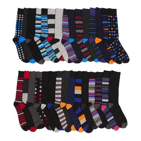 Mens Dress Crew Trouser Socks - 30 Pack Formal Fashion Socks