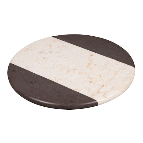 "Creative Home 2 Tone Marble 12"" Lazy Susan, Rotating Serving Board"