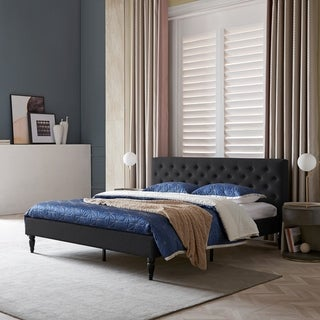 Atterbury Contemporary Upholstered King Bed Platform by Christopher Knight Home