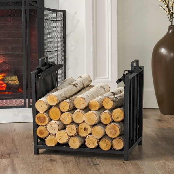 "Cosada Iron and Canvas Fireplace Log Holder by Christopher Knight Home - 6.50"" H x 27.00"" W x 13"" D"