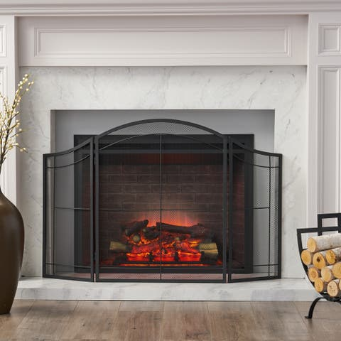 Belton Modern Iron Folding Fireplace Screen by Christopher Knight Home