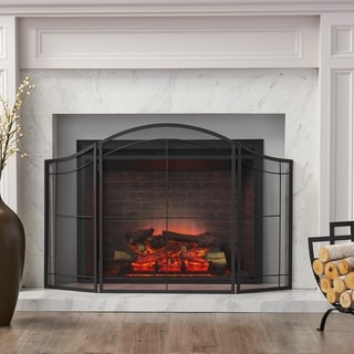 Link to Belton Modern Iron Folding Fireplace Screen by Christopher Knight Home Similar Items in Decorative Accessories