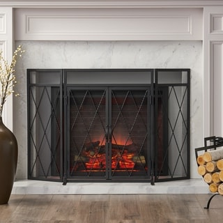 Blyfield Modern Iron Folding Fireplace Screen with Door by Christopher Knight Home