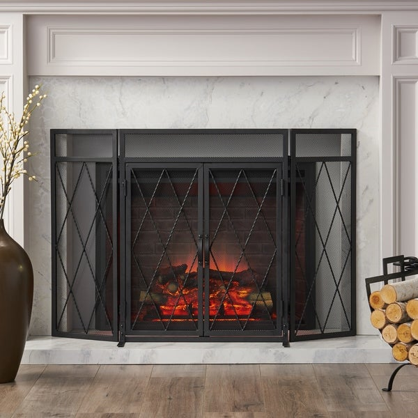 Blyfield Modern Iron Folding Fireplace Screen with Door by Christopher Knight Home. Opens flyout.